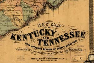 1861 Map of Tennessee and Kentucky (Library of Congress)
